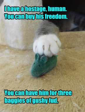 I have a hostage, human. You can buy his freedom.          You can have him for three baggies of gushy fud.