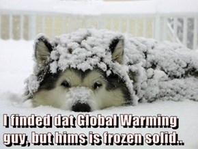 I finded dat Global Warming guy, but hims is frozen solid..