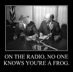 ON THE RADIO, NO ONE KNOWS YOU'RE A FROG.