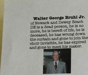 Walter Has Been Writing His Own Obituary for Years, and It's the Best