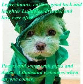 Leprechauns, castles, good luck and laughter Lullabies, dreams, and love ever after.    Poems and songs with pipes and drums A thousand welcomes when anyone comes.
