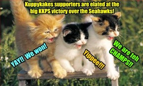 In a stunning upset, teh Kuppykakes Football team defeated teh Seattle Seahawks! Teh Ittie Bitties splorted teh Seahawk players, while teh last minute KKPS additions of teh Pallis Cat twinz an' teh ThunderCat brothers added som needed mussel!