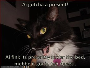 Ai gotcha a present!   Ai fink its presently under the bed, mebbe it got in teh closet..