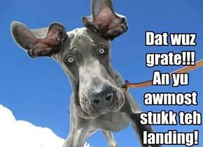 Dat wuz grate!!!  An yu  awmost stukk teh landing!