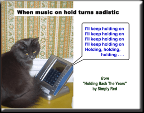 """When music on hold turns sadistic"" (from ""Holding Back The Years"" by Simply Red)"