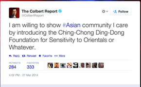 Without a Satirical Tone, A Seemingly Racist Tweet From the Colbert Report Sparks Twitter Outrage