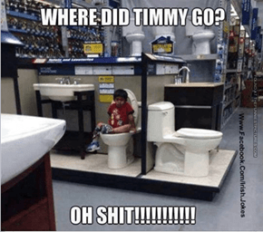teach your kids not to go to the toilet when your in a store