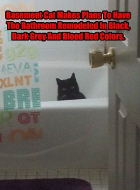 Basement Cat Makes Plans To Have The Bathroom Remodeled In Black, Dark Grey And Blood Red Colors.