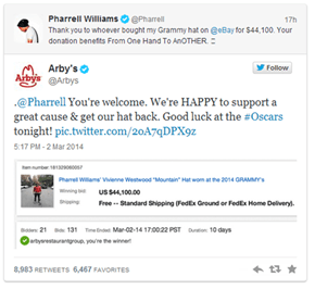 While We Were Watching the Oscars, Pharrell Sold His Awesome Grammy's Hat to the Best Charity Bidder