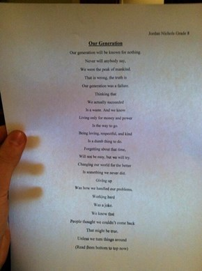This Middle School Student Wrote a Pretty Amazing Poem, But They Wrote an Even Better BACKWARDS Poem