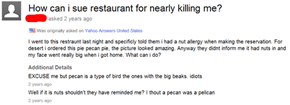 This Customer Really Just Wanted to Enjoy Their Bird Pie