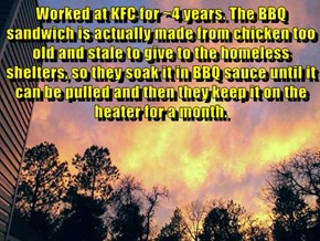 Worked at KFC for ~4 years. The BBQ sandwich is actually made from chicken too old and stale to give to the homeless shelters, so they soak it in BBQ sauce until it can be pulled and then they keep it on the heater for a month.