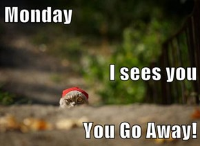 Monday I sees you You Go Away!
