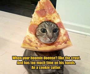 When your hoomin doensn't like the crust.  And has too much time on his hands.  An a cookie cutter.