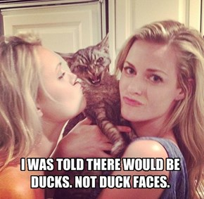 I WAS TOLD THERE WOULD BE DUCKS. NOT DUCK FACES.