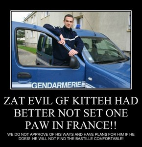 ZAT EVIL GF KITTEH HAD BETTER NOT SET ONE PAW IN FRANCE!!