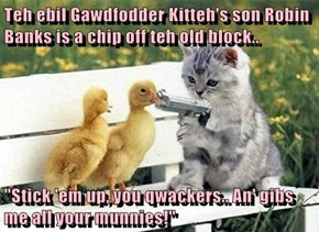 "Teh ebil Gawdfodder Kitteh's son Robin Banks is a chip off teh old block..  ""Stick 'em up, you qwackers.. An' gibs me all your munnies!"""