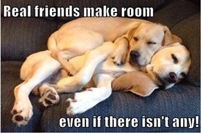 Real friends make room  even if there isn't any!