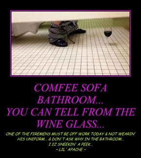 COMFEE SOFA BATHROOM... YOU CAN TELL FROM THE WINE GLASS...