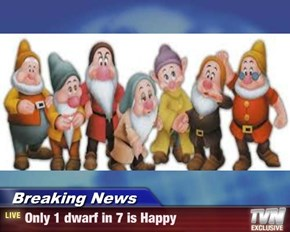 Breaking News - Only 1 dwarf in 7 is Happy