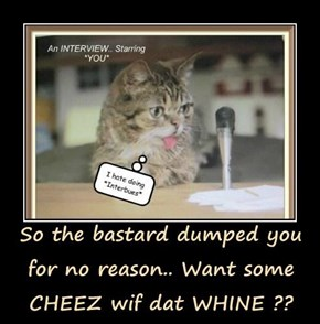 So the bastard dumped you for no reason.. Want some CHEEZ wif dat WHINE ??