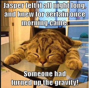 Jasper felt it all night long, and knew for certain once morning came.  Someone had                                                    turned up the gravity!
