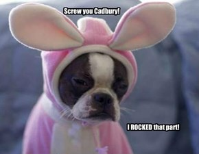"Butch is a little bitter about not getting the part of ""The Cadbury Bunny"""