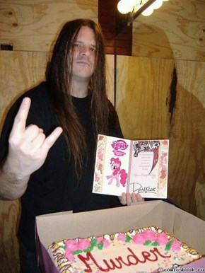 "George ""Corpsegrinder"" Fisher of Cannibal Corpse got a MLP themed cake+card for his birthday."