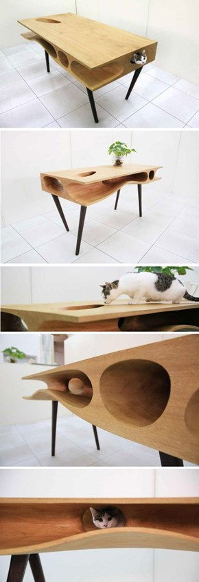 This Table Gives Your Cat a Fun Way to Sneak Treats off Your Plate