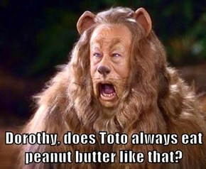 Dorothy, does Toto always eat peanut butter like that?