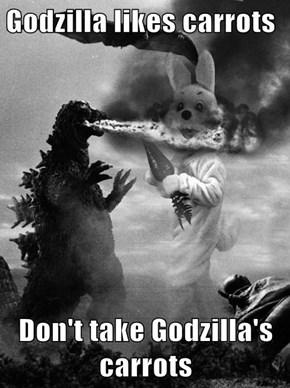 Godzilla likes carrots  Don't take Godzilla's carrots