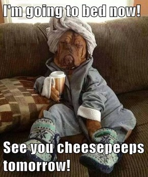 I'm going to bed now!  See you cheesepeeps tomorrow!