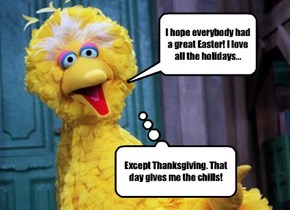 Don't worry Big Bird, none of us has an oven big enough to fit YOU inside.