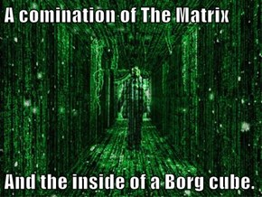 A comination of The Matrix  And the inside of a Borg cube.