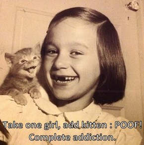 Take one girl, add kitten : POOF!  Complete addiction.