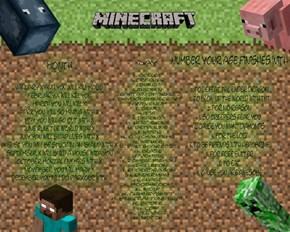 Minecraft Birthday Scenario Game
