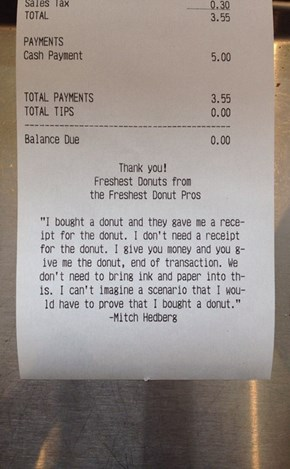 The Only Way to Improve a Donut Receipt