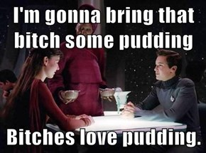I'm gonna bring that b*tch some pudding  Bitches love pudding.