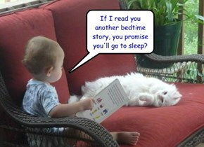 If I read you another bedtime story, you promise you'll go to sleep?
