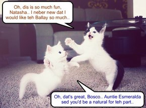 After Bosco gets out ob teh Time Out Bawks, he finds Natasha an' dey practis a dans from Swan Lake.. Bosco an' Natasha ar perfect for teh merry, care free Prince Siegried an' teh gentle, caring Princess Odette..