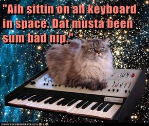 """Aih sittin on ah keyboard in space. Dat musta been sum bad nip."""