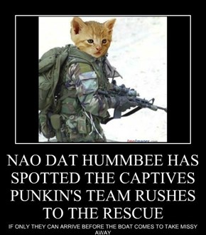 NAO DAT HUMMBEE HAS SPOTTED THE CAPTIVES PUNKIN'S TEAM RUSHES TO THE RESCUE