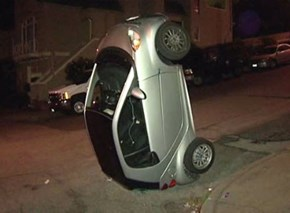 The Newest Fad in San Francisco? Tipping Smart Cars Like They Were Cows.