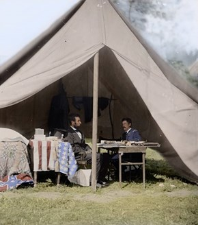 An Actual, Glorious, Fully Colored Photo of Abraham Lincoln Meeting With General McClellan at Antietam, September 1862