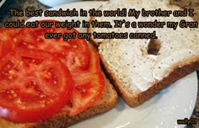 The best sandwich in the world! My brother and I could eat our weight in them. It's a wonder my Gran ever got any tomatoes canned.