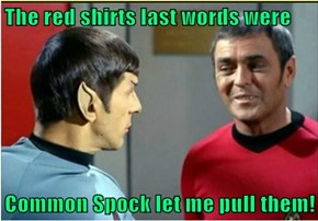 The red shirts last words were  Common Spock let me pull them!
