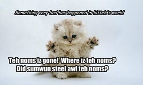 Teh Bwave Asplorer Kitteh n teh Kwest fur Noms. 1