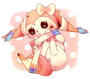 Sylveon got itself tangled by its own ribbons and bows.