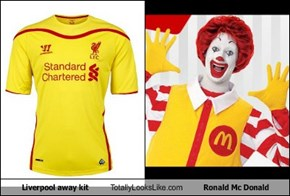 Liverpool away kit Totally Looks Like Ronald Mc Donald