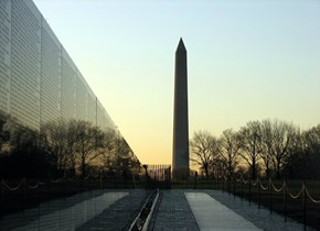 Vietnam War Memorial and the Washington Monument
